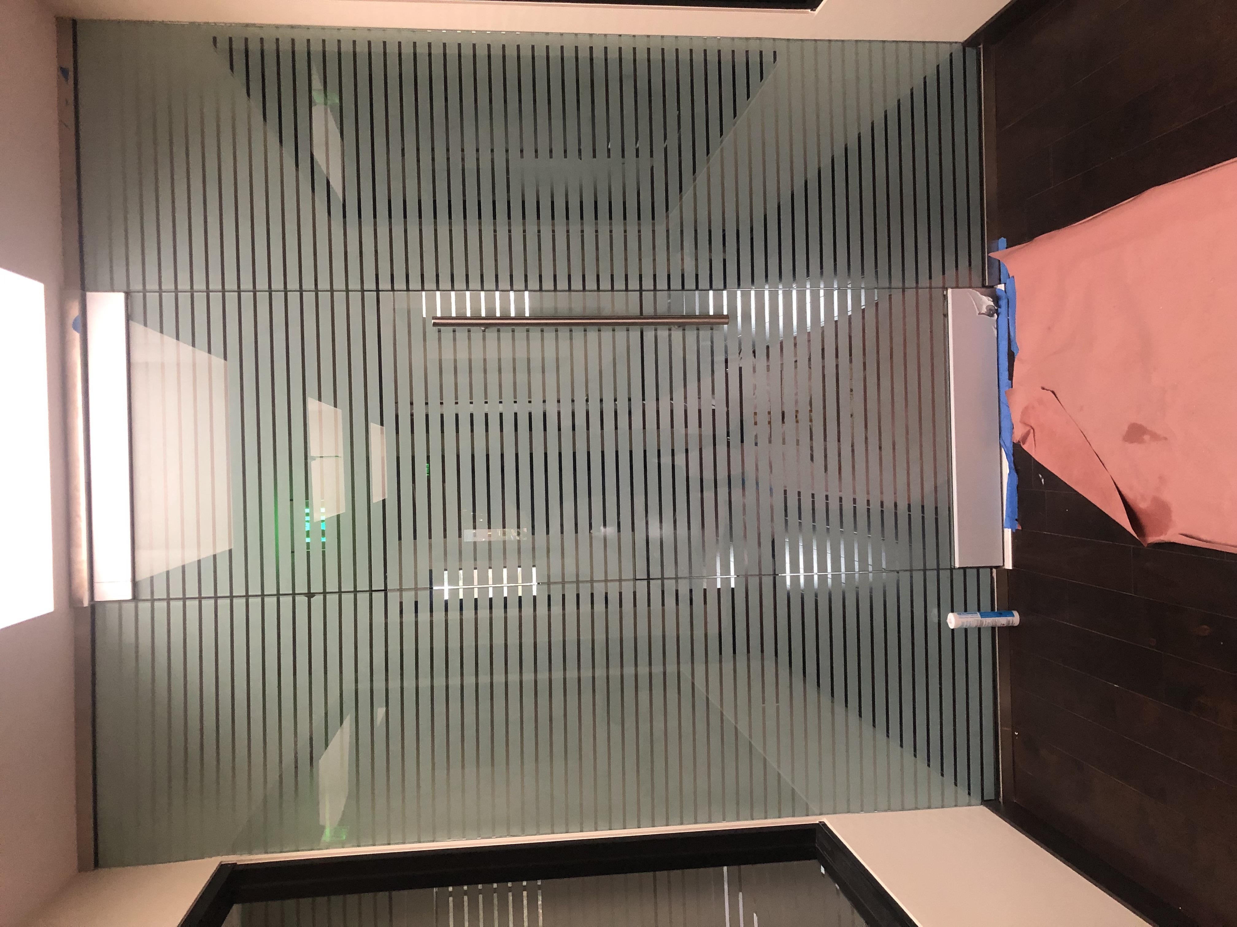 white stripes decorative window film installation